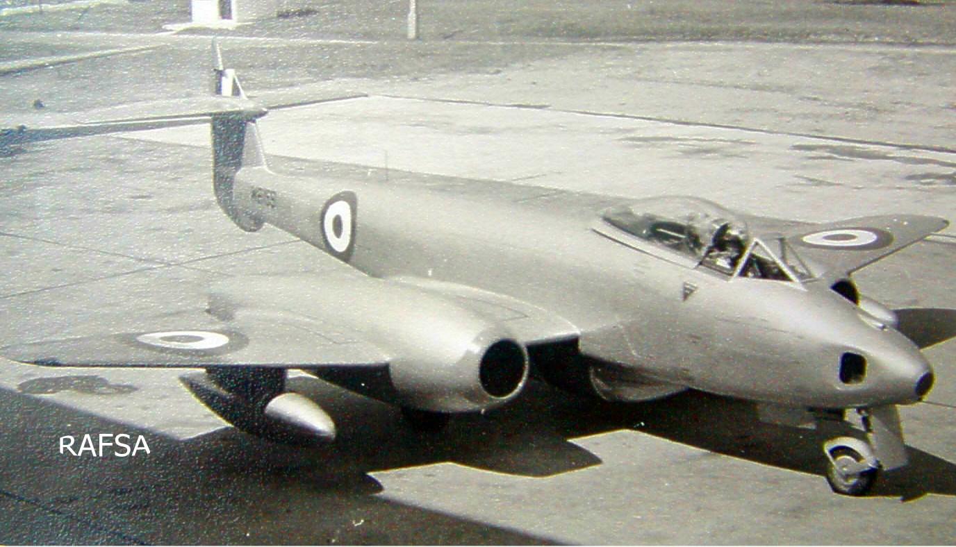 Seletar 1950s 1952-58 Meteor (Gloster) 81 Sqn WB159 at Seletar